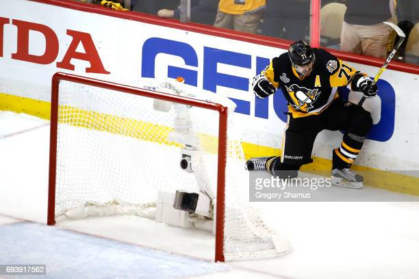 Evgeni Malkin of the Pittsburgh Penguins celebrates after scoring his team's third goal in the first period against the Nashville Predators in Game...