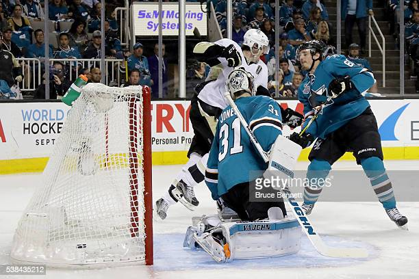Evgeni Malkin of the Pittsburgh Penguins celebrates after scoring against the San Jose Sharks in the second period of Game Four of the 2016 NHL...