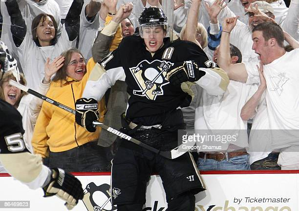 Evgeni Malkin of the Pittsburgh Penguins celebrates his goal against the Washington Capitals during Game Three of the Eastern Conference Semifinals...