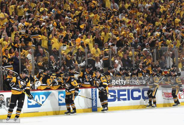 Evgeni Malkin of the Pittsburgh Penguins celebrates his goal with teammates during the first period of Game One of the 2017 NHL Stanley Cup Final...