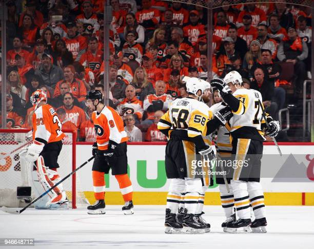 Evgeni Malkin of the Pittsburgh Penguins celebrates his powerplay goal at 648 of the second period against the Philadelphia Flyers in Game Three of...