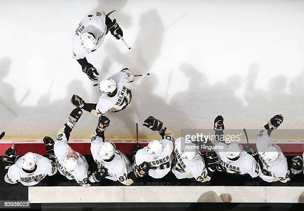 Evgeni Malkin of the Pittsburgh Penguins celebrates his shorthanded goal against the Ottawa Senators at the players' bench at Scotiabank Place on...