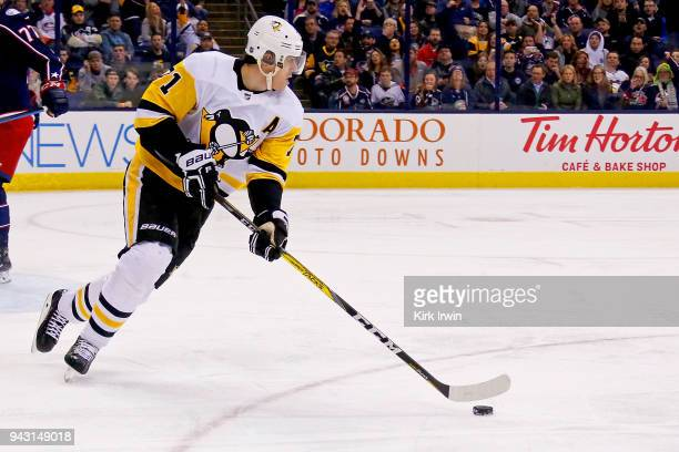 Evgeni Malkin of the Pittsburgh Penguins controls the puck during the game against the Columbus Blue Jackets on April 5 2018 at Nationwide Arena in...