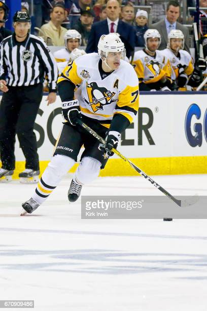 Evgeni Malkin of the Pittsburgh Penguins controls the puck in Game Four of the Eastern Conference First Round during the 2017 NHL Stanley Cup...