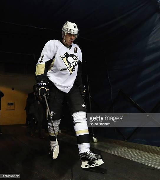 Evgeni Malkin of the Pittsburgh Penguins heads out for warmups prior to the game against the New York Rangers in Game One of the Eastern Conference...