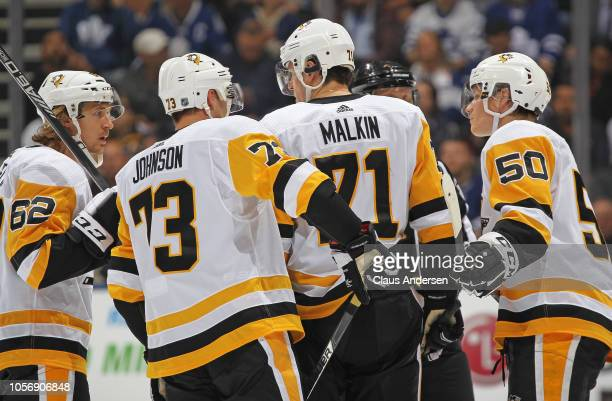 Evgeni Malkin of the Pittsburgh Penguins holds court during a timeout against the Toronto Maple Leafs in an NHL game at Scotiabank Arena on October...