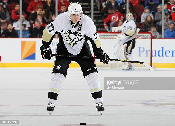 Evgeni Malkin of the Pittsburgh Penguins in action against the New Jersey Devils at the Prudential Center on February 9 2013 in Newark New Jersey The...
