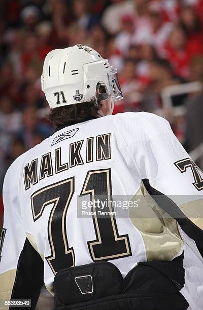 Evgeni Malkin of the Pittsburgh Penguins looks on against the Detroit Red Wings during Game Five of the 2009 NHL Stanley Cup Finals at Joe Louis...