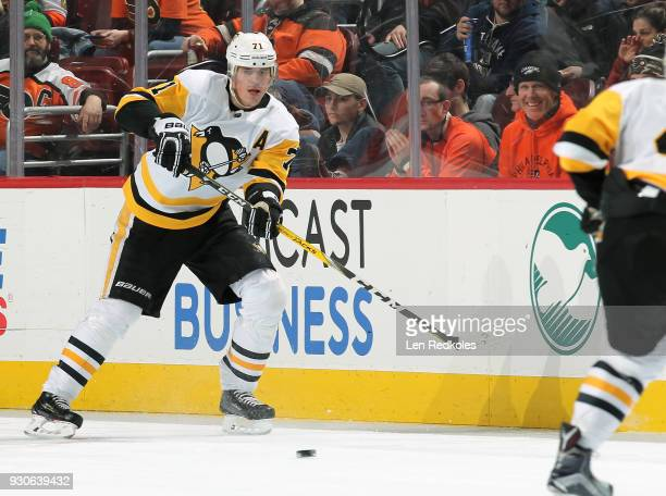 Evgeni Malkin of the Pittsburgh Penguins passes the puck against the Philadelphia Flyers on March 7 2018 at the Wells Fargo Center in Philadelphia...