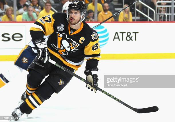 Evgeni Malkin of the Pittsburgh Penguins plays in the second period of Game One of the 2017 NHL Stanley Cup Final against the Nashville...