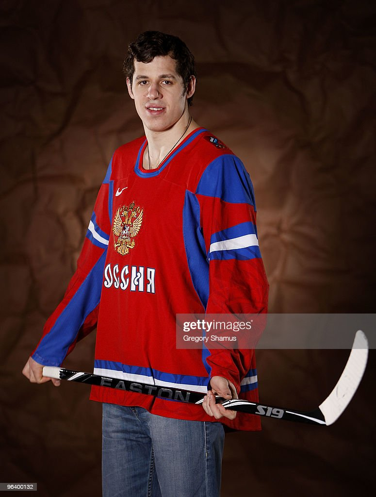 Evgeni Malkin #71 of the Pittsburgh Penguins poses for a portrait in his Team Russia 2010 Olympic jersey on February 3, 2010 at Mellon Arena in Pittsburgh, Pennsylvania.