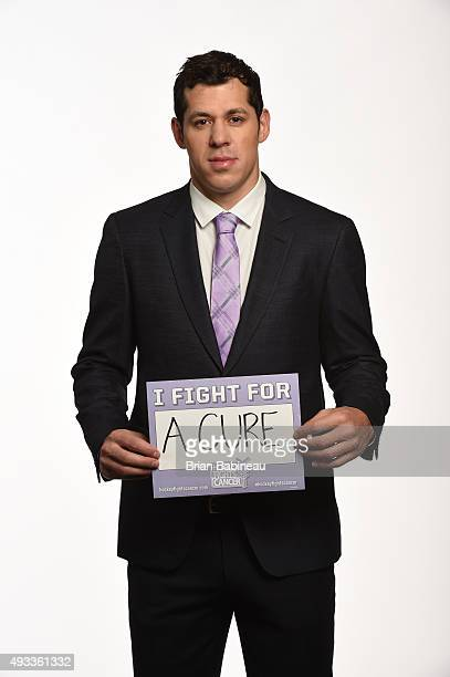 Evgeni Malkin of the Pittsburgh Penguins poses for pictures at the NHL Player Media Tour at the Ritz Carlton on September 9 2015 in Toronto Ontario