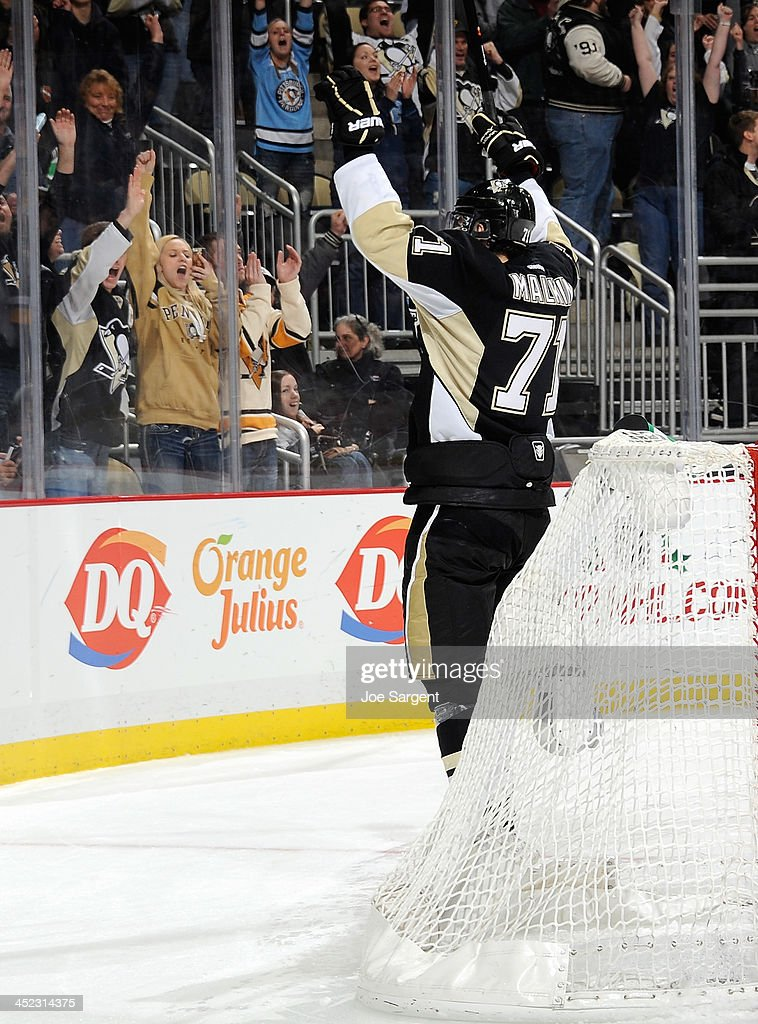 Evgeni Malkin #71 of the Pittsburgh Penguins reacts a his game winning shootout goal against the Toronto Maple Leafs on November 27, 2013 at Consol Energy Center in Pittsburgh, Pennsylvania.