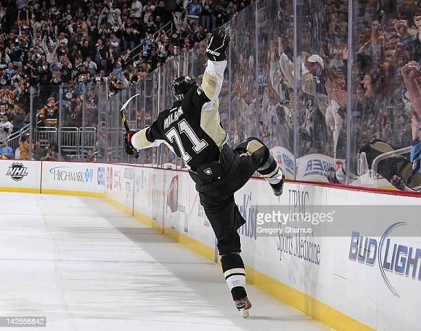 Evgeni Malkin of the Pittsburgh Penguins reacts after scoring his 50th goal of the season against the Philadelphia Flyers on April 7 2012 at Consol...