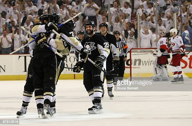 Evgeni Malkin of the Pittsburgh Penguins scores the hat trick at 1225 of the third period against the Carolina Hurricanes during Game Two of the...
