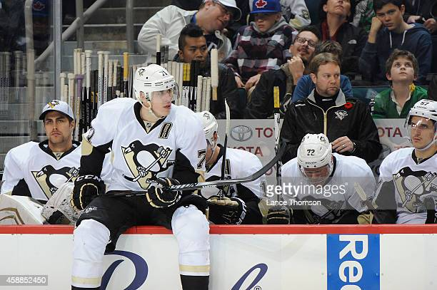 Evgeni Malkin of the Pittsburgh Penguins sits on the boards as he awaits his turn during the shootout against the Winnipeg Jets on November 6, 2014...