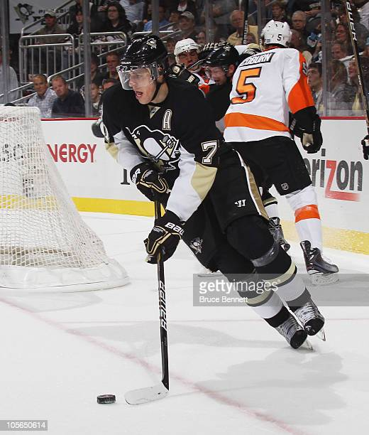 Evgeni Malkin of the Pittsburgh Penguins skates against the Philadelphia Flyers at the Consol Energy Center on October 7 2010 in Pittsburgh...