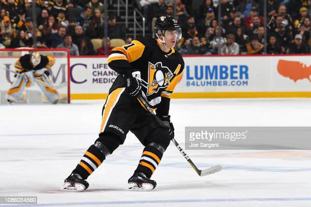 Evgeni Malkin of the Pittsburgh Penguins skates against the Los Angeles Kings at PPG Paints Arena on December 15 2018 in Pittsburgh Pennsylvania