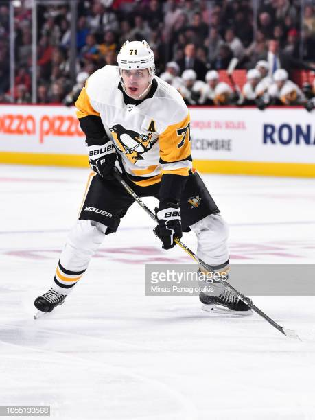 Evgeni Malkin of the Pittsburgh Penguins skates against the Montreal Canadiens during the NHL game at the Bell Centre on October 13 2018 in Montreal...
