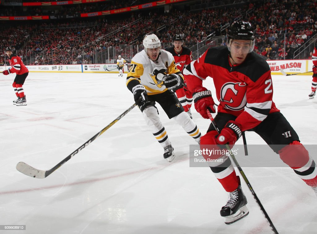 Evgeni Malkin #71 of the Pittsburgh Penguins skates against the New Jersey Devils at the Prudential Center on March 29, 2018 in Newark, New Jersey. The Penguins defeated the Devils 4-3 in overtime.