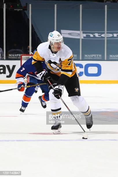 Evgeni Malkin of the Pittsburgh Penguins skates against the New York Islanders at Nassau Coliseum on February 11, 2021 in Uniondale, New York....