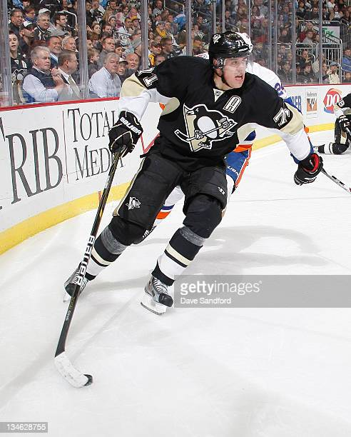 Evgeni Malkin of the Pittsburgh Penguins skates against the New York Islanders during their NHL game at Consol Energy Center on November 21 2011 in...