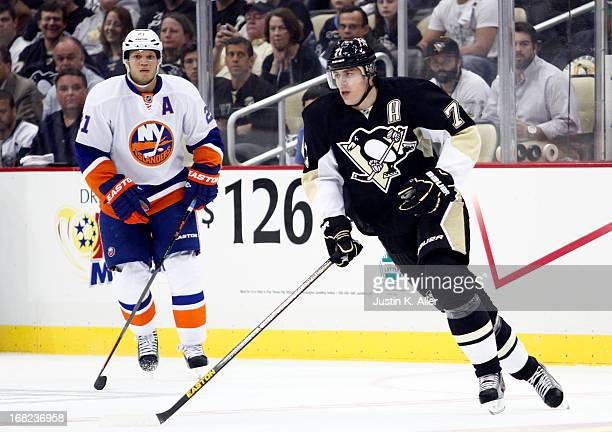 Evgeni Malkin of the Pittsburgh Penguins skates against the New York Islanders in Game One of the Eastern Conference Quarterfinals during the 2013...