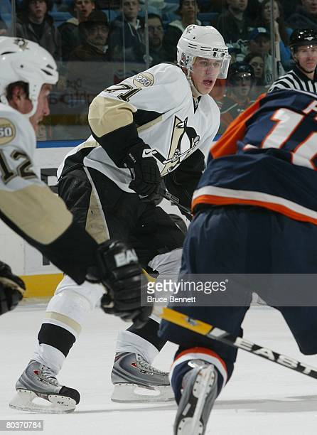 Evgeni Malkin of the Pittsburgh Penguins skates against the New York Islanders on March 24 2008 at the Nassau Coliseum in Uniondale New York The...