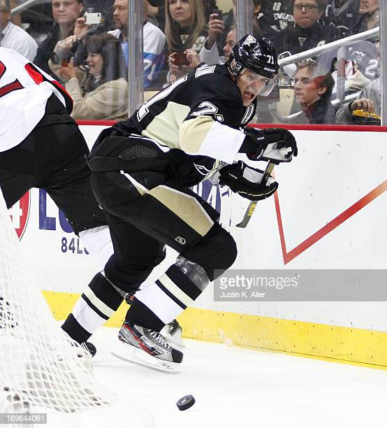 Evgeni Malkin of the Pittsburgh Penguins skates against the Ottawa Senators in Game Five of the Eastern Conference Semifinals during the 2013 NHL...