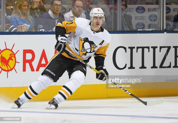 Evgeni Malkin of the Pittsburgh Penguins skates against the Toronto Maple Leafs during an NHL game at Scotiabank Arena on October 18 2018 in Toronto...