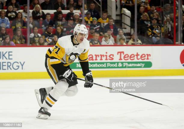 Evgeni Malkin of the Pittsburgh Penguins skates for position on the ice during an NHL game against the Carolina Hurricanes on December 22 2018 at PNC...