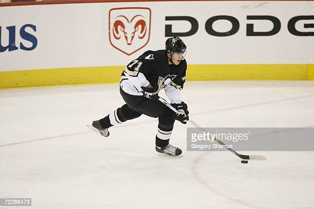 Evgeni Malkin of the Pittsburgh Penguins skates with the puck against the New Jersey Devils on October 18 2006 at Mellon Arena in Pittsburgh...
