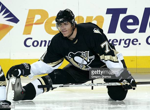 Evgeni Malkin of the Pittsburgh Penguins stretches prior to a game against the New Jersey Devils on October 18 2006 at Mellon Arena in Pittsburgh...