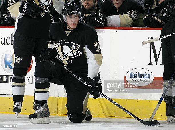 Evgeni Malkin of the Pittsburgh Penguins takes a knee between regulation and overtime during a game against the Washington Capitals on December 27...