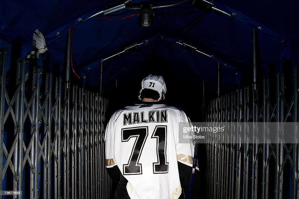 Evgeni Malkin #71 of the Pittsburgh Penguins walks out onto the ice to warm up prior to their game against the New York Islanders on March 22, 2007 at Nassau Coliseum in Uniondale, New York