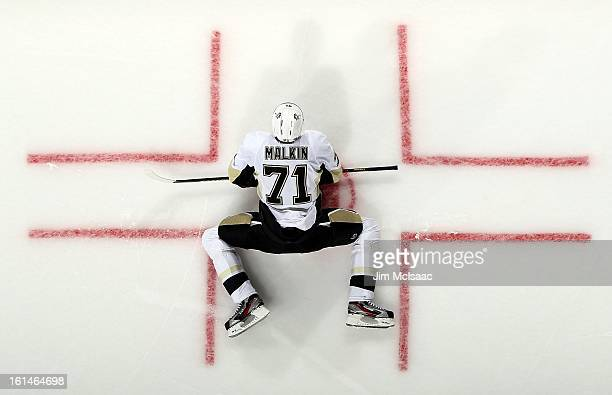 Evgeni Malkin of the Pittsburgh Penguins warms up before playing against the New Jersey Devils at the Prudential Center on February 9 2013 in Newark...