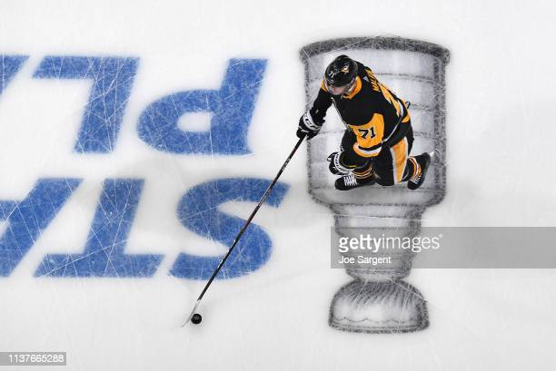 Evgeni Malkin of the Pittsburgh Penguins warms up prior to the game against the New York Islanders in Game Four of the Eastern Conference First Round...