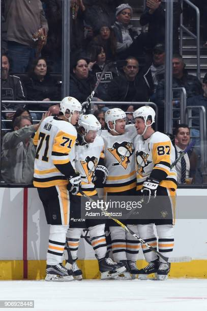 Evgeni Malkin Phil Kessel Sidney Crosby and Patric Hornqvist of the Pittsburgh Penguins celebrate after scoring a goal against the Los Angeles Kings...