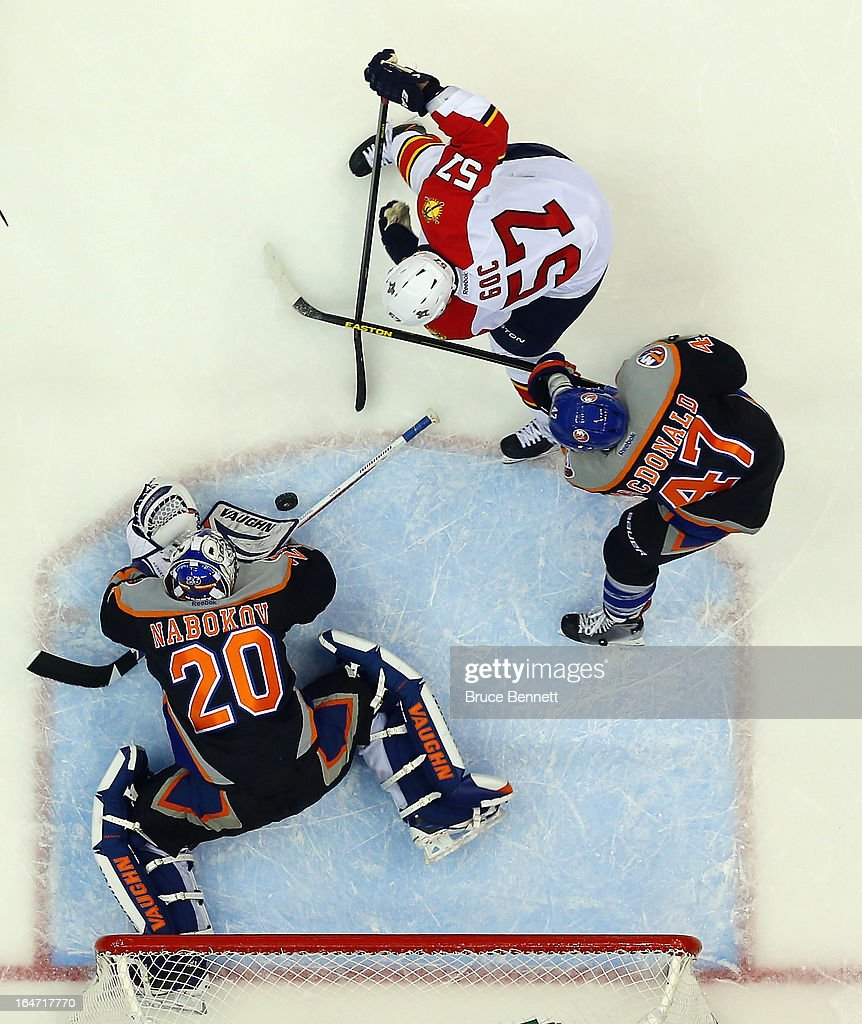 Evgeni Nabokov #20 of the New York Islanders tends net against the Florida Panthers at the Nassau Veterans Memorial Coliseum on March 24, 2013 in Uniondale, New York.