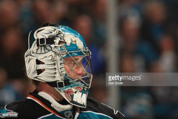 Evgeni Nabokov of the San Jose Sharks focuses on the ice during game two of the 2008 NHL Stanley Cup Playoffs conference quarterfinal series on April...