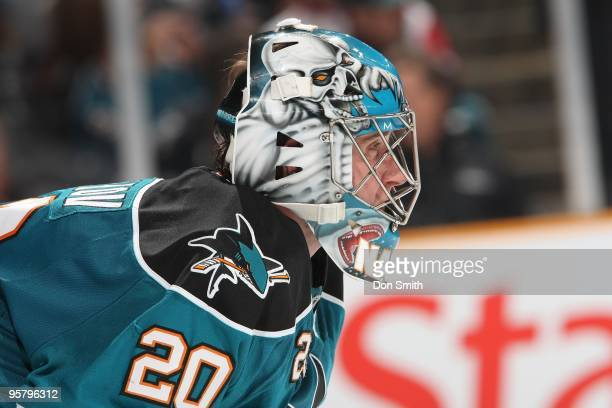 Evgeni Nabokov of the San Jose Sharks in net during an NHL game against the Detroit Red Wings on January 9, 2010 at HP Pavilion at San Jose in San...
