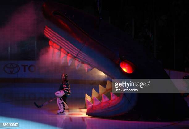 Evgeni Nabokov of the San Jose Sharks is introduced against the Anaheim Ducks during Game Two of the Eastern Conference Quarterfinals of the 2009...
