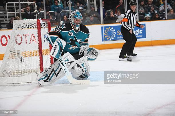 Evgeni Nabokov of the San Jose Sharks makes a save during an NHL game against the Anaheim Ducks on December 26, 2009 at HP Pavilion at San Jose in...