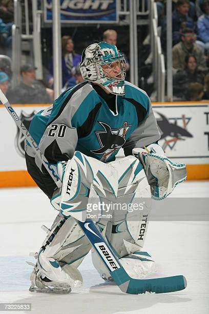Evgeni Nabokov of the San Jose Sharks readies for a shot during a game against the St Louis Blues on January 20 2007 at the HP Pavilion in San Jose...