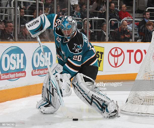 Evgeni Nabokov of the San Jose Sharks slows the puck during an NHL game against the Detroit Red Wings on January 9, 2010 at HP Pavilion at San Jose...