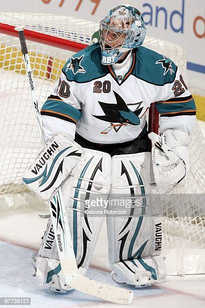 Evgeni Nabokov of the San Jose Sharks stands in the crease during a break in action against the Anaheim Ducks during the game on March 14, 2010 at...