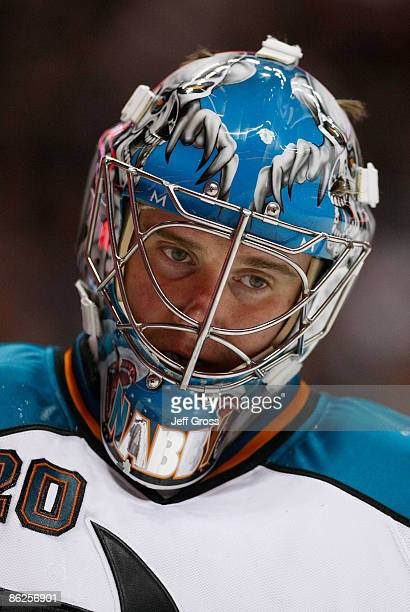 Evgeni Nabokov of the San Jose Sharks stands on the ice during the Sharks 4-1 loss to the Anaheim Ducks during Game Six of the Western Conference...