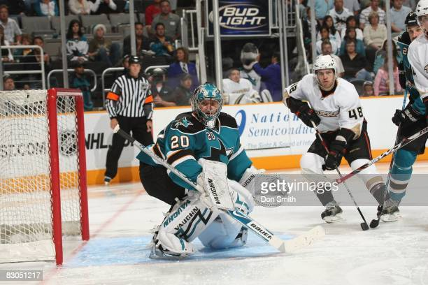 Evgeni Nabokov of the San Jose Sharks watches the action during an NHL preseason game against the Anaheim Ducks at HP Pavilion at San Jose on...