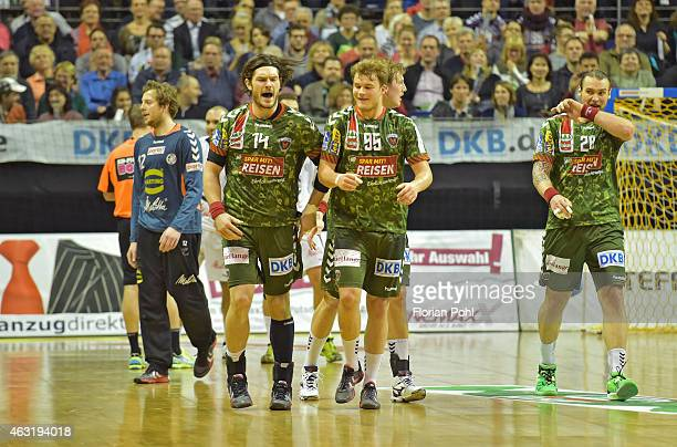 Evgeni Pevnov and Paul Drux of Fuechse Berlin during the game between Fuechse Berlin and GWD Minden on february 11, 2015 in Berlin, Germany.