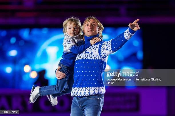 Evgeni Plushenko and his son Egor perform in the opening ceremony during day one of the European Figure Skating Championships at Megasport Arena on...